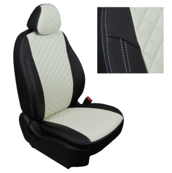 Модельные авточехлы для Toyota Hilux (2015-н.в.) из экокожи Premium 3D ромб, черный+белый