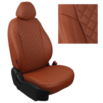 Модельные авточехлы для Lada (ВАЗ) Kalina I (2004-2014) из экокожи Premium 3D ромб, коричневый