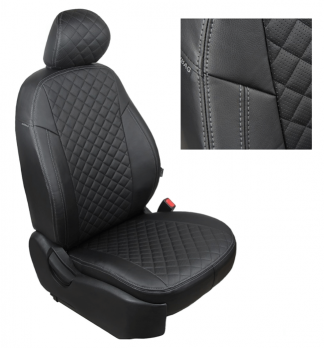 Модельные авточехлы для Lada (ВАЗ) Kalina II (2014-н.в.) из экокожи Premium 3D ромб, черный