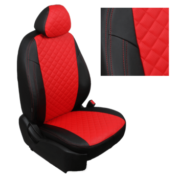 Модельные авточехлы для Lada (ВАЗ) Kalina II (2014-н.в.) из экокожи Premium 3D ромб, черный+красный