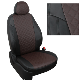 Модельные авточехлы для Lada (ВАЗ) Kalina II (2014-н.в.) из экокожи Premium 3D ромб, черный+шоколад