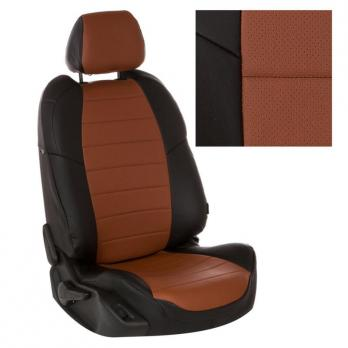 Модельные авточехлы для Daewoo Nexia (2008-н.в.) из экокожи Premium, черный+коричневый