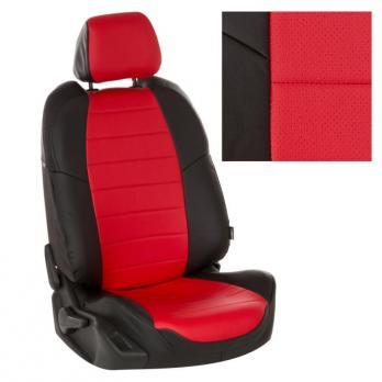 Модельные авточехлы для Nissan Tiida (2004-2014) из экокожи Premium, черный+красный