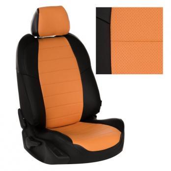Модельные авточехлы для Nissan Tiida (2015-н.в.) из экокожи Premium, черный+оранжевый