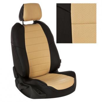 Модельные авточехлы для Nissan Patrol из экокожи Premium, черный+бежевый