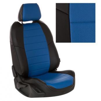 Модельные авточехлы для Nissan Pathfinder III (2004-2014) из экокожи Premium, черный+синий