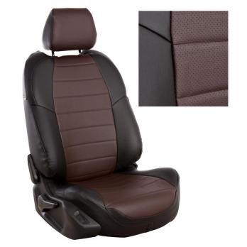 Модельные авточехлы для Nissan Pathfinder III (2004-2014) из экокожи Premium, черный+шоколад