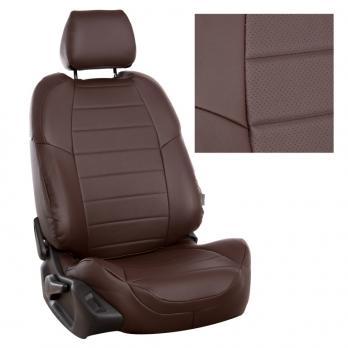 Модельные авточехлы для Nissan Micra (2003-2011) из экокожи Premium, шоколад