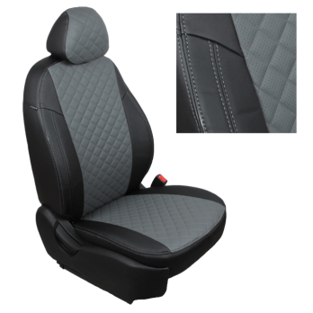 Модельные авточехлы для Nissan Almera (2013-н.в.) из экокожи Premium 3D ромб, черный+серый