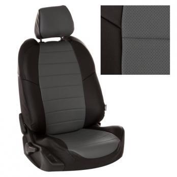 Модельные авточехлы для Mitsubishi Pajero III-IV из экокожи Premium, черный+серый