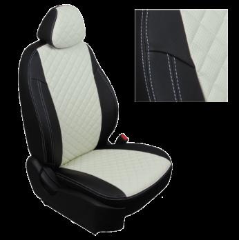 Модельные авточехлы для Mitsubishi Pajero III-IV из экокожи Premium 3D ромб, черный+белый