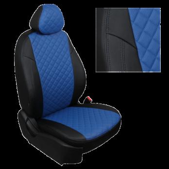 Модельные авточехлы для Mitsubishi Pajero III-IV из экокожи Premium 3D ромб, черный+синий