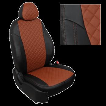 Модельные авточехлы для Mitsubishi Pajero III-IV из экокожи Premium 3D ромб, черный+коричневый