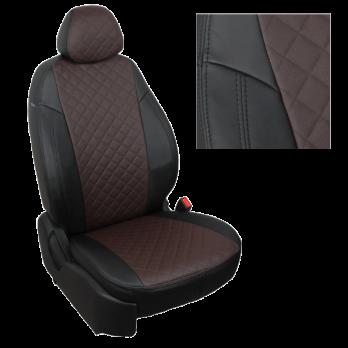 Модельные авточехлы для Mitsubishi Pajero III-IV из экокожи Premium 3D ромб, черный+шоколад