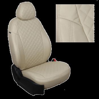 Модельные авточехлы для Mitsubishi Pajero III-IV из экокожи Premium 3D ромб, бежевый