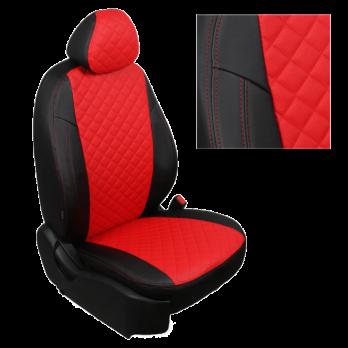 Модельные авточехлы для Nissan Micra (2003-2011) из экокожи Premium 3D ромб, черный+красный