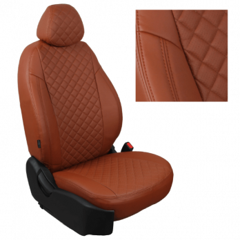 Модельные авточехлы для Peugeot 4008 (2012-н.в.) из экокожи Premium 3D ромб, коричневый