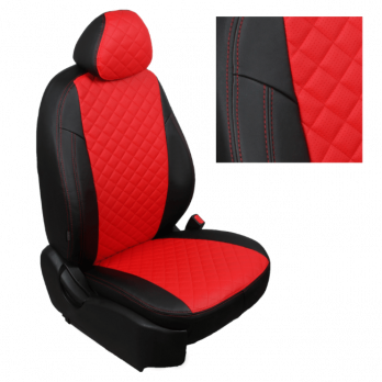 Модельные авточехлы для Peugeot Boxer (2006-н.в.) 3 места из экокожи Premium 3D ромб, черный+красный