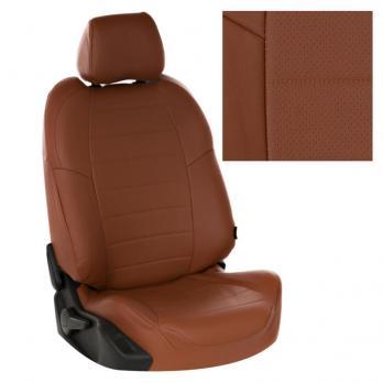 Модельные авточехлы для Skoda Rapid Sport (2014-н.в.) из экокожи Premium, коричневый