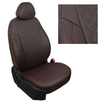 Модельные авточехлы для Lada (ВАЗ) Granta (2018-н.в.) из экокожи Premium 3D ромб, шоколад