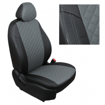 Модельные авточехлы для Nissan Pathfinder III (2004-2014) из экокожи Premium 3D ромб, черный+серый