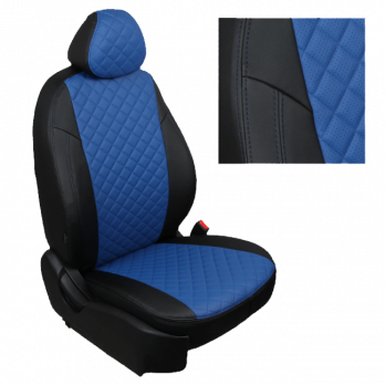 Модельные авточехлы для Nissan Pathfinder III (2004-2014) из экокожи Premium 3D ромб, черный+синий