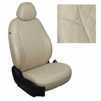 Модельные авточехлы для Nissan Pathfinder III (2004-2014) из экокожи Premium 3D ромб, бежевый
