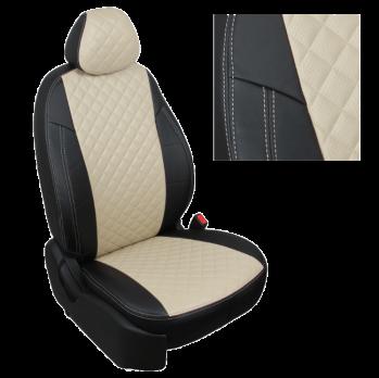 Модельные авточехлы для Datsun mi-DO из экокожи Premium 3D ромб, черный+бежевый