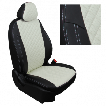 Модельные авточехлы для Ford Transit (2006-2015) 3 места из экокожи Premium 3D ромб, черный+белый
