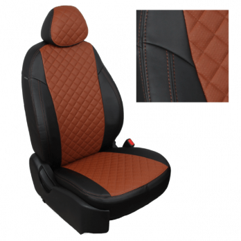 Модельные авточехлы для Ford Transit (2015-н.в.) 3 места из экокожи Premium 3D ромб, черный+коричневый
