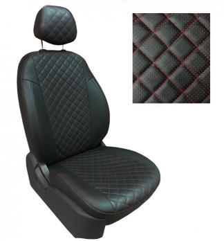 Модельные авточехлы для ВАЗ (Lada) 2110 из экокожи Premium 3D ромб, черный+нитка красная