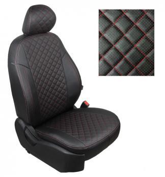Модельные авточехлы для Lada (ВАЗ) XRAY из экокожи Premium 3D ромб, черный+нитка красная