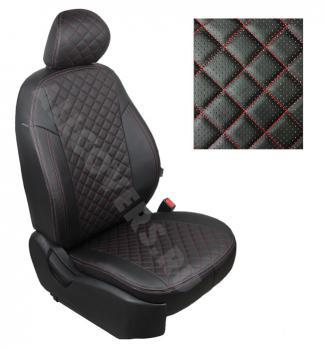 Модельные авточехлы для Lada (ВАЗ) Priora (2014-н.в.) из экокожи Premium 3D ромб, черный+нитка красная