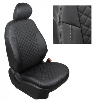 Модельные авточехлы для Volkswagen T6 Transporter (2015-н.в.) 3 места из экокожи Premium 3D ромб, черный