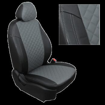 Модельные авточехлы для Volkswagen T6 Transporter (2015-н.в.) 3 места из экокожи Premium 3D ромб, черный+серый