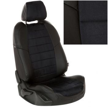 Модельные авточехлы для Chery QQ6 из экокожи Premium и алькантары, черный