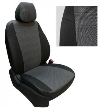 Модельные авточехлы для Nissan Qashqai+2 (2008-2015) 5 мест из экокожи Premium и ткань жаккард (гобелен)