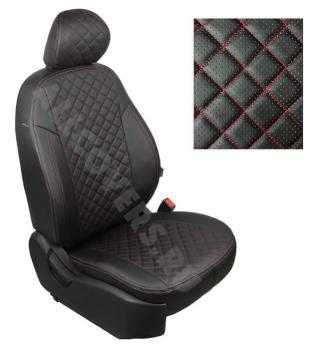 Модельные авточехлы для Chevrolet Lanos из экокожи Premium 3D ромб, черный+нитка красная
