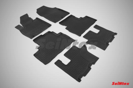 Резиновые ковры с высоким бортом в салон для KIA Sorento III Prime (2015-н.в.) 3 ряда