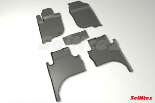 Резиновые ковры с высоким бортом в салон для Mitsubishi L200 (2015-н.в.)