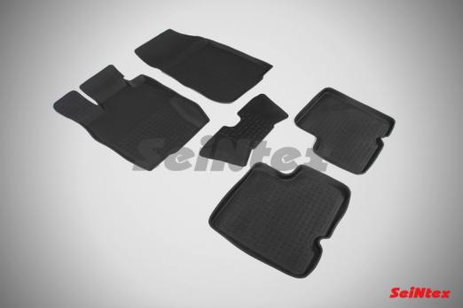 Резиновые ковры с высоким бортом в салон для Nissan Terrano (2014-2016)