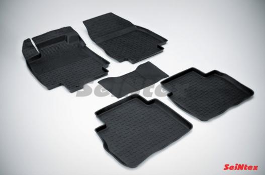 Резиновые ковры с высоким бортом в салон для Nissan Tiida (2004-2014)