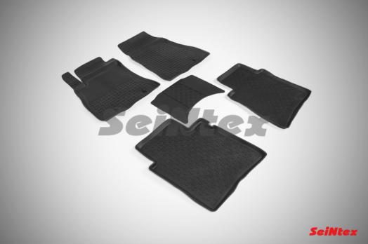 Резиновые ковры с высоким бортом в салон для Nissan Tiida (2015-н.в.)