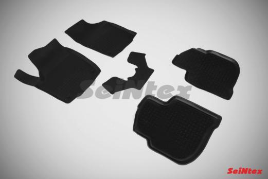 Резиновые ковры с высоким бортом в салон для Skoda Rapid (2014-н.в.)