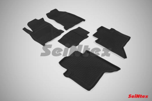 Резиновые ковры с высоким бортом в салон для Toyota Hilux (2015-н.в.)