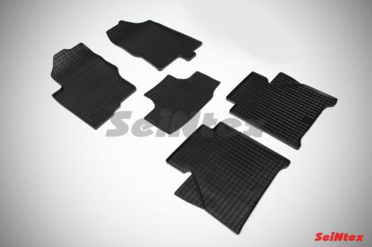 Резиновые ковры сетка в салон для Nissan Navara (2005-2015) комплектация LUX c АКПП