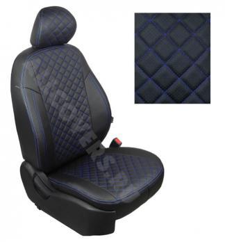 Модельные авточехлы для Datsun on-DO из экокожи Premium 3D ромб, черный+нитка синяя