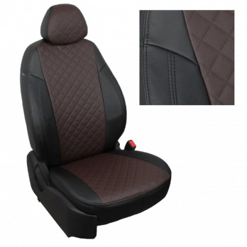 Модельные авточехлы для KIA Sorento III (2014-н.в.) из экокожи Premium 3D ромб, черный+шоколад