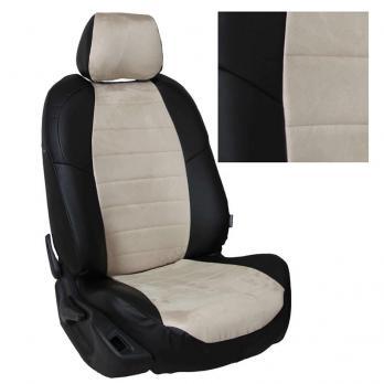 Модельные авточехлы для Toyota Matrix из экокожи Premium и алькантары, черный+бежевый