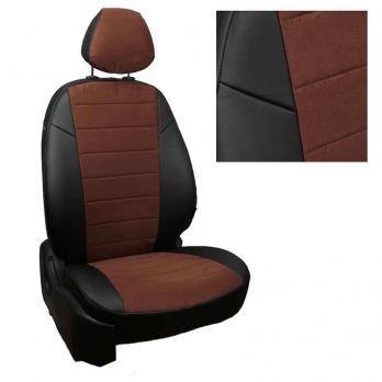 Модельные авточехлы для Toyota Matrix из экокожи Premium и алькантары, черный+шоколад